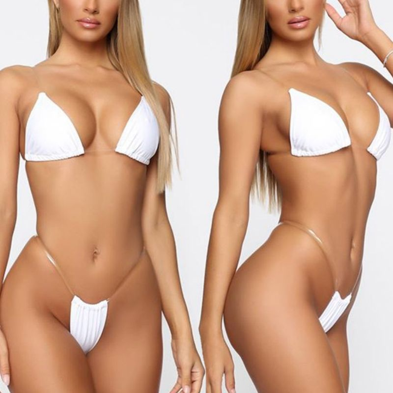 Fashion Women Summer Bikini Lingerie Set Sexy Underwear Bra G-String Transparent Strap Set Beach Wear Bathing Suit Swimwear