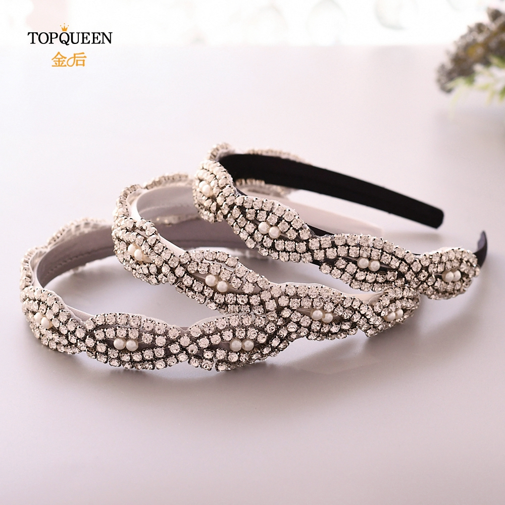 TOPQUEEN S293-FG Wedding Rhinestone Baroque Headband Bridal Tiara Headpieces Silver Rhinestone Headband Wedding Hair Jewelry