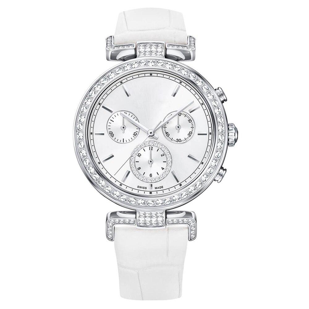 SWA mode nouvelle haute qualité SWA ère voyage montre blanc motif de rayonnement bracelet en cuir en acier inoxydable femmes montre en cristal - 4
