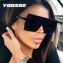 YOOSKE Black Square Sunglasses Women Men Retro Oversized Sun