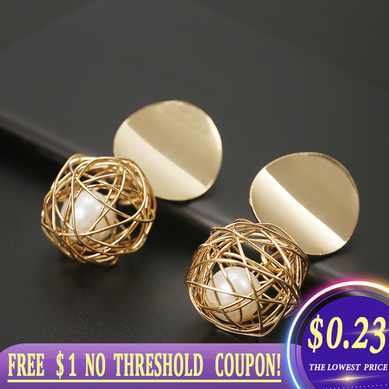2020 New Fashion Stud Earrings For Women Golden Color Ball  Geometric Earrings For Party Wedding Gift Wholesale Ear Jewelry