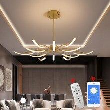 MDWELL Matte Black/White Finished Modern Led Chandelier for living room bedroom study room Adjustable New Led Chandelier Fixture