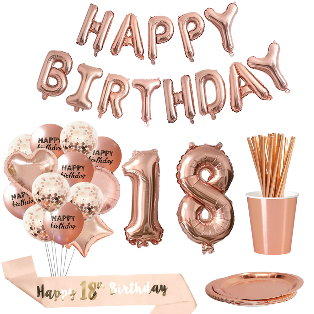 Chicinlife 18th Birthday Balloons Happy Birthday Balloons 18 Years Old Birthday Anniversary Party Decoration 18 Party Decor