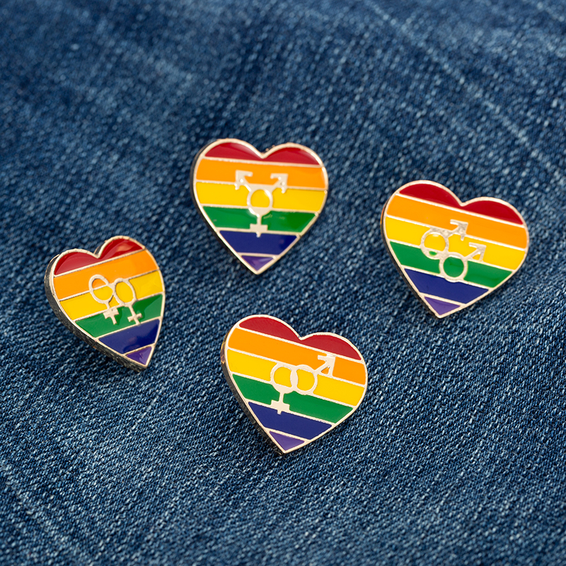 Enamel LGBT Pride Rainbow Heart Brooch Pin Lesbians Gays <font><b>Bisexual</b></font> Transgender Sign Badge Gold Silver Color Pins <font><b>Jewelry</b></font> image