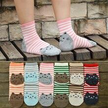 6 par/lote cores misturadas moda mulher outono e inverno meias gato bonito meias de algodão preço por atacado global transporte da gota