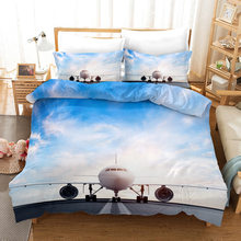 Airplane 3d Bedding Set Duvet Covers Pillowcases Children Room Decor Comforter Bedding Sets Bed Linen 07(China)
