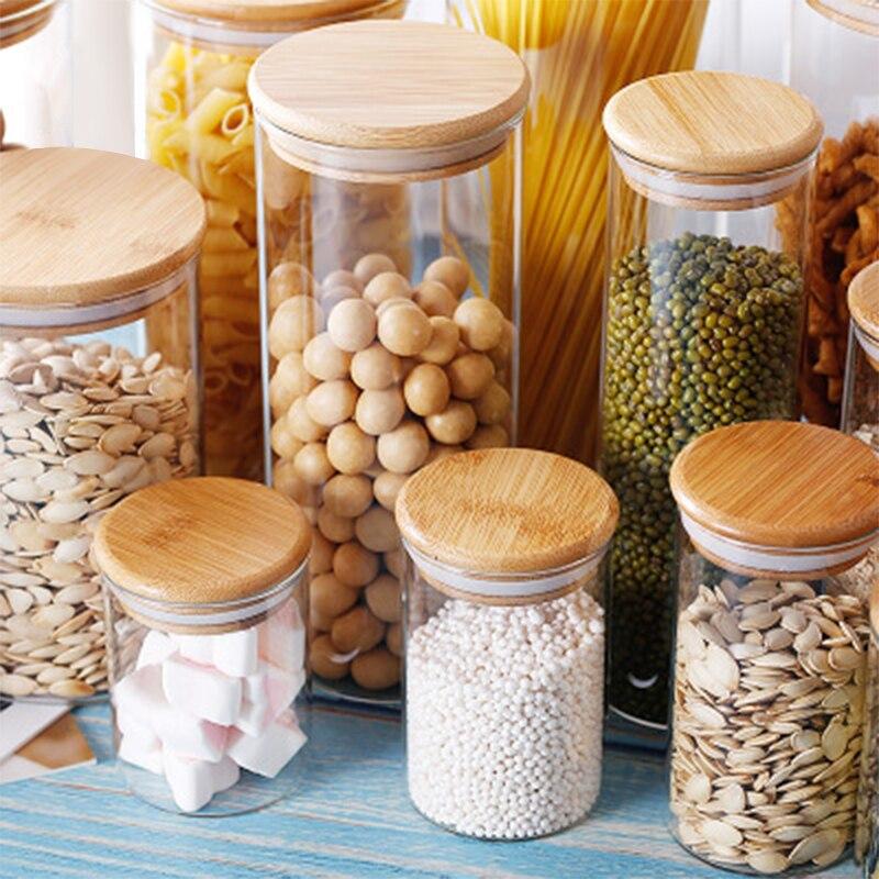 Контейнер для еды, Бамбуковая крышка, высокое боросиликатное питание, герметичная стеклянная банка для кухни, зерно, герметичная банка для хранения свежих продуктов Бутылки, банки и коробки      АлиЭкспресс