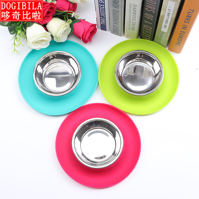 DOGIBILA New Round Silicone Pet Bowl Portable Environmental Protection And Non-toxic Antiskid Dog Food
