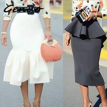 Женская облегающая юбка-карандаш, высокая талия, тонкая, с оборками, скромная посылка, облегающая, стильная, Saias Jupes Falads, элегантная, офисная, рабочая одежда