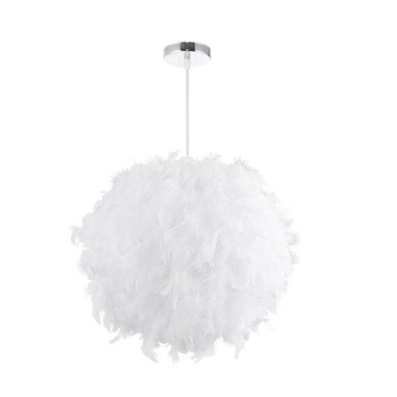 Işıklar ve Aydınlatma'ten Kolye ışıkları'de ABSS beyaz kumaş Ac220V yatak odası kişilik moda basit Badminton aydınlatma avize kutu ambalaj title=