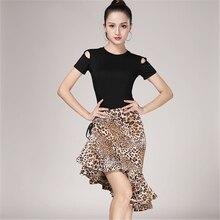 Del Grano Del leopardo Latino del Pannello Esterno del Fishtail Per Gli Adulti di Sesso Femminile Pratica Latino Performance di Danza Costumi di Mezza Lunghezza Donne del Pannello Esterno di Ballo
