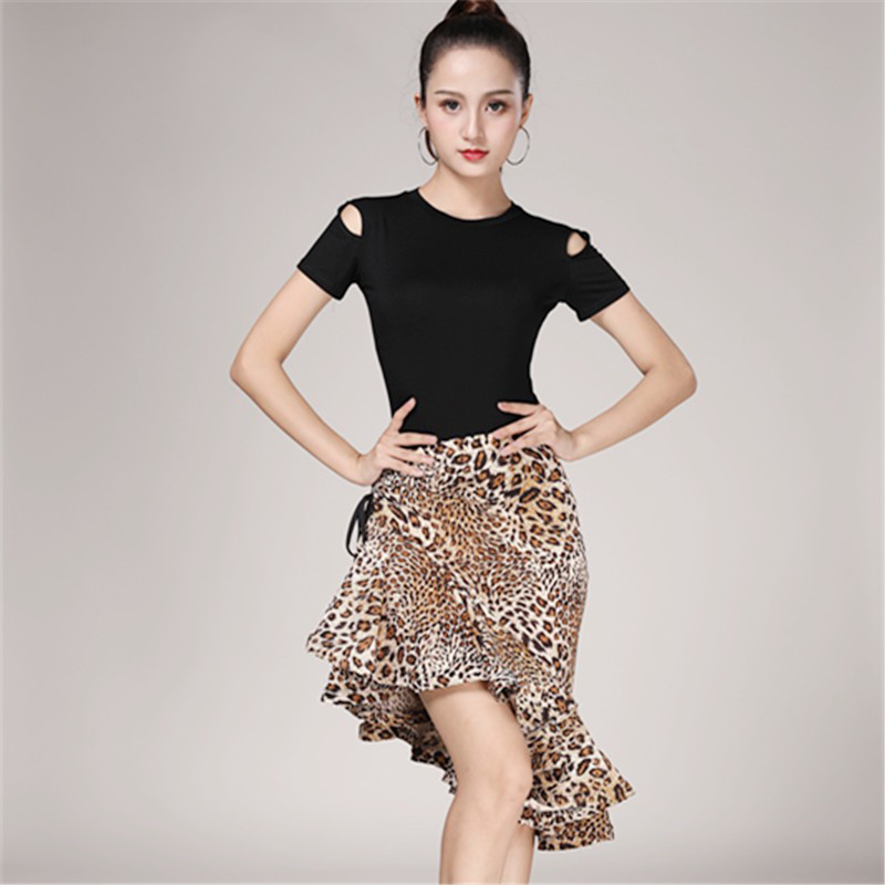 Leopard Grain Latin Fishtail Skirt For Female Adults Latin Practice Performance Dancing Costumes Half Length Skirt Women Dance