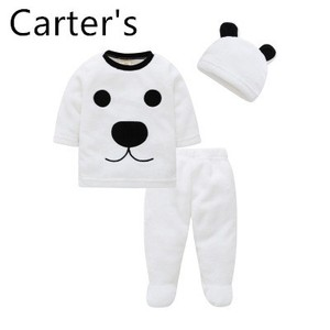 Carter's Children's double-sided flannel children's bag in autumn and winter plus velvet to keep warm Baby Boy Clothes Set Bebes