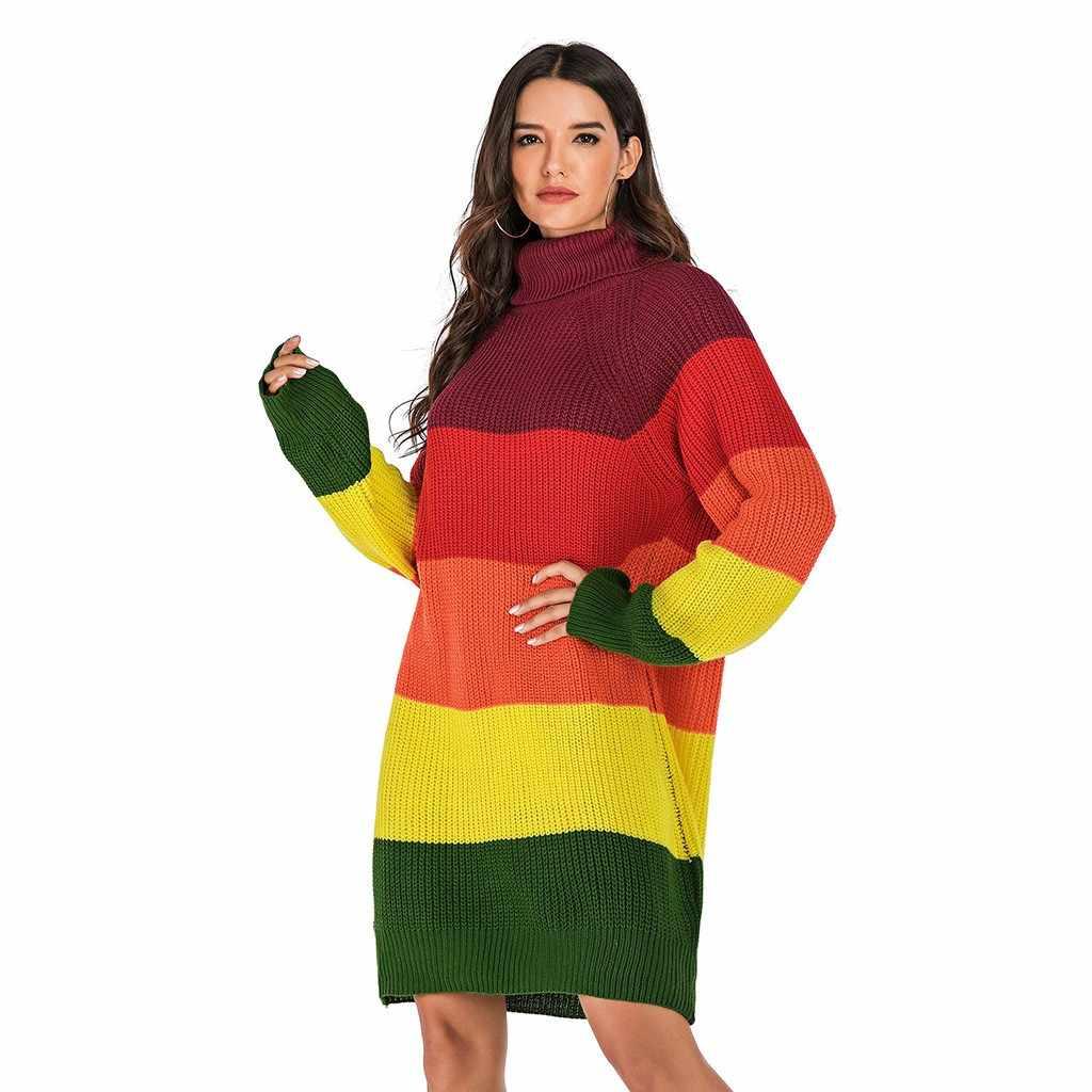 FREIER OSTRICH Frauen herbst winter lässig mit langen ärmeln nähte hohe neck knit pullover schal warme weiche bequeme pullover