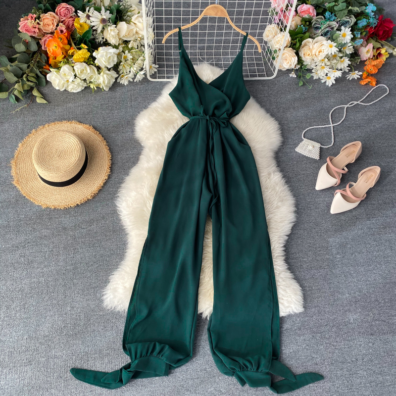 Vintage 2020 Jumpsuits V Neck Spaghetti Strap Summer Full Length Jumpsuit Women Sexy Split Playsuit Tie Beach Holiday Romper