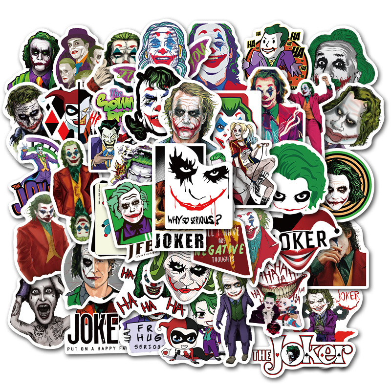 50PCS/lot Joker Sticker Super Villain Movie Anime Cartoon Pegatina  For Luggage Skateboard Motorcycle Bicycle Cool Stickers