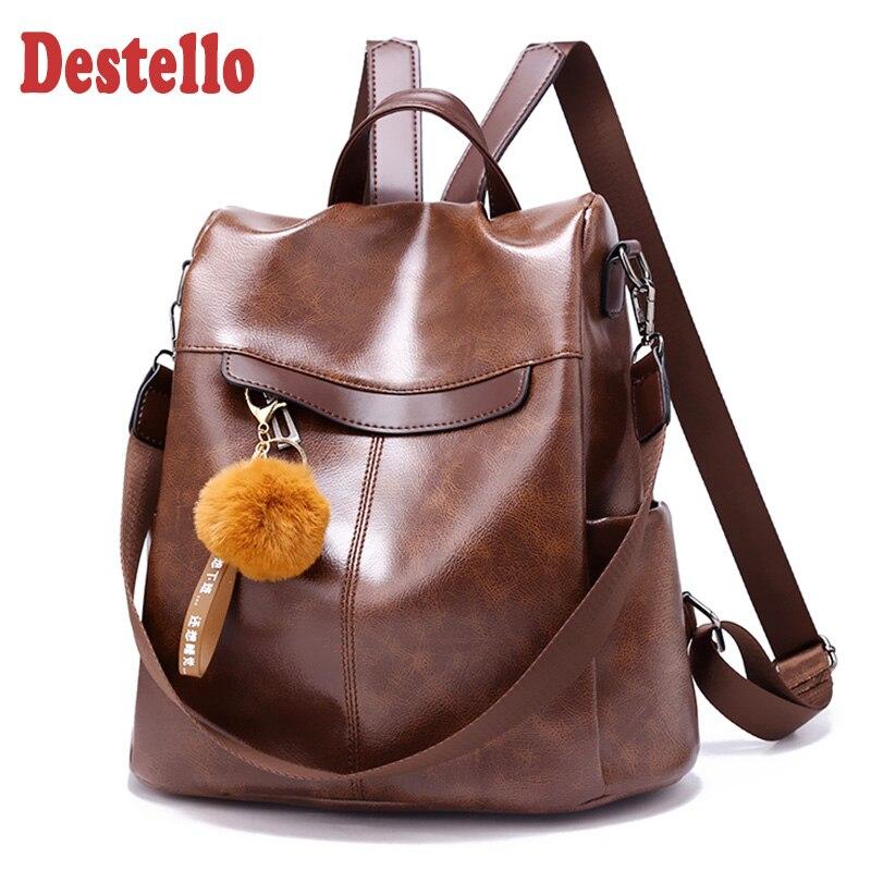 New Fashion PU Women Backpack 2020 High Quality Female School Bags Large Capacity Women's Backpacks Vintage Teenager Girls Bag