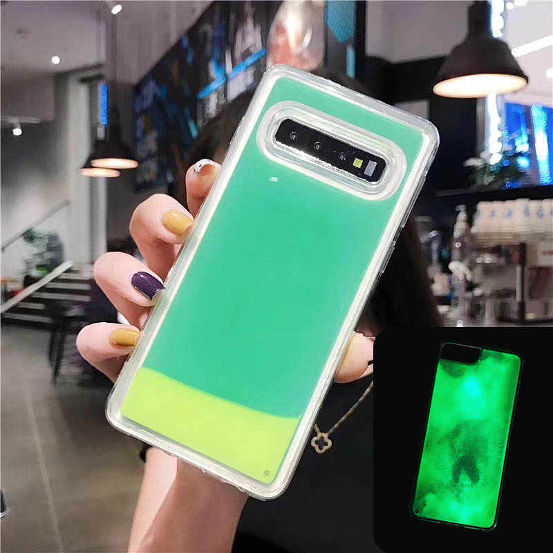 New Luminous Phone Case For Samsung Galaxy Note 8 9 S10 S9 S8 Plus S10e Cases Liquid Soft Silicone Night Light Candy Color Cover