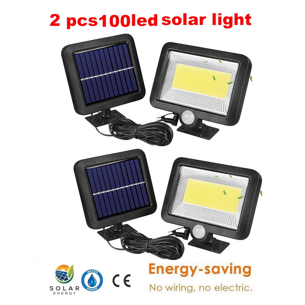 2/4pcs Solar Lights Outdoor 100/56/30 LED 3 Modes Motion Sensor Solar Wall Light With Remote Controller Waterproof Security Lamp