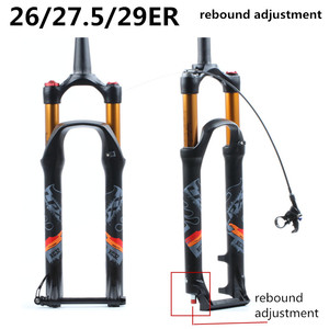 Image 2 - Horquilla de suspensión para bicicleta de montaña, bloqueo de horquilla de 26, 27,5 y 29 pulgadas, eje pasante cónico recto, ajuste de rebote de liberación rápida QR