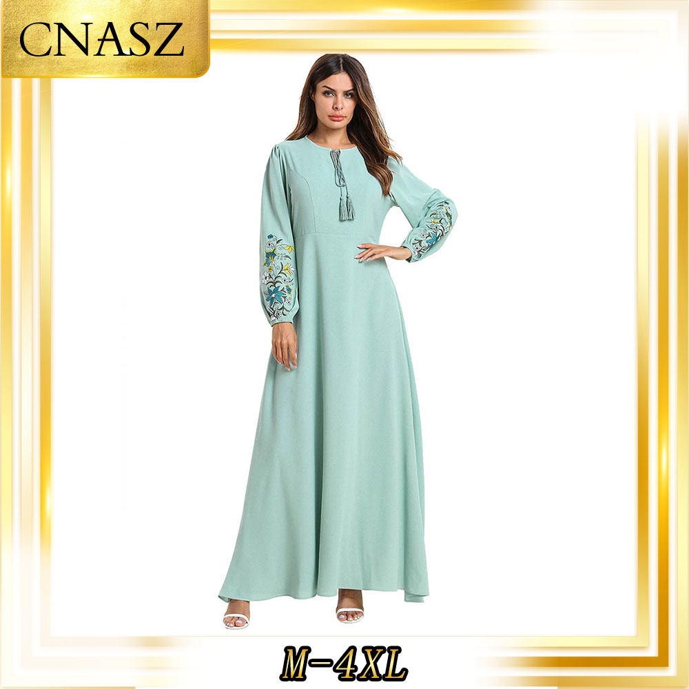 Abaya Dubai mode grande taille en vrac couleur unie broderie dentelle à manches longues Musulmane Femme robe
