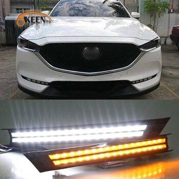 OKEEN LED Daytime Running Lights For Mazada CX-5 CX-8 2017 2018 2019 White Blue DRL Flowing Yellow Turn Signal Light Fog Lamp