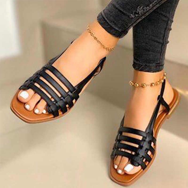 Kadın sandalet kadın yaz Hollow Out roma ayakkabı 2020 kadın gladyatör burnu açık plaj Flats bayanlar ayakkabı artı boyutu 35-43