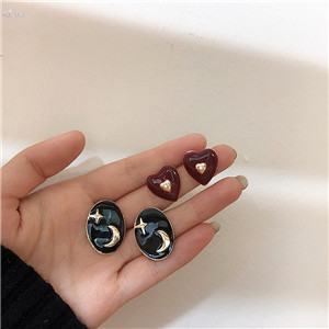 AOMU-Korea-Vintage-Red-Enamel-Heart-Stud-Earring-For-Women-Girls-Green-Star-Moon-Ear-Accessories
