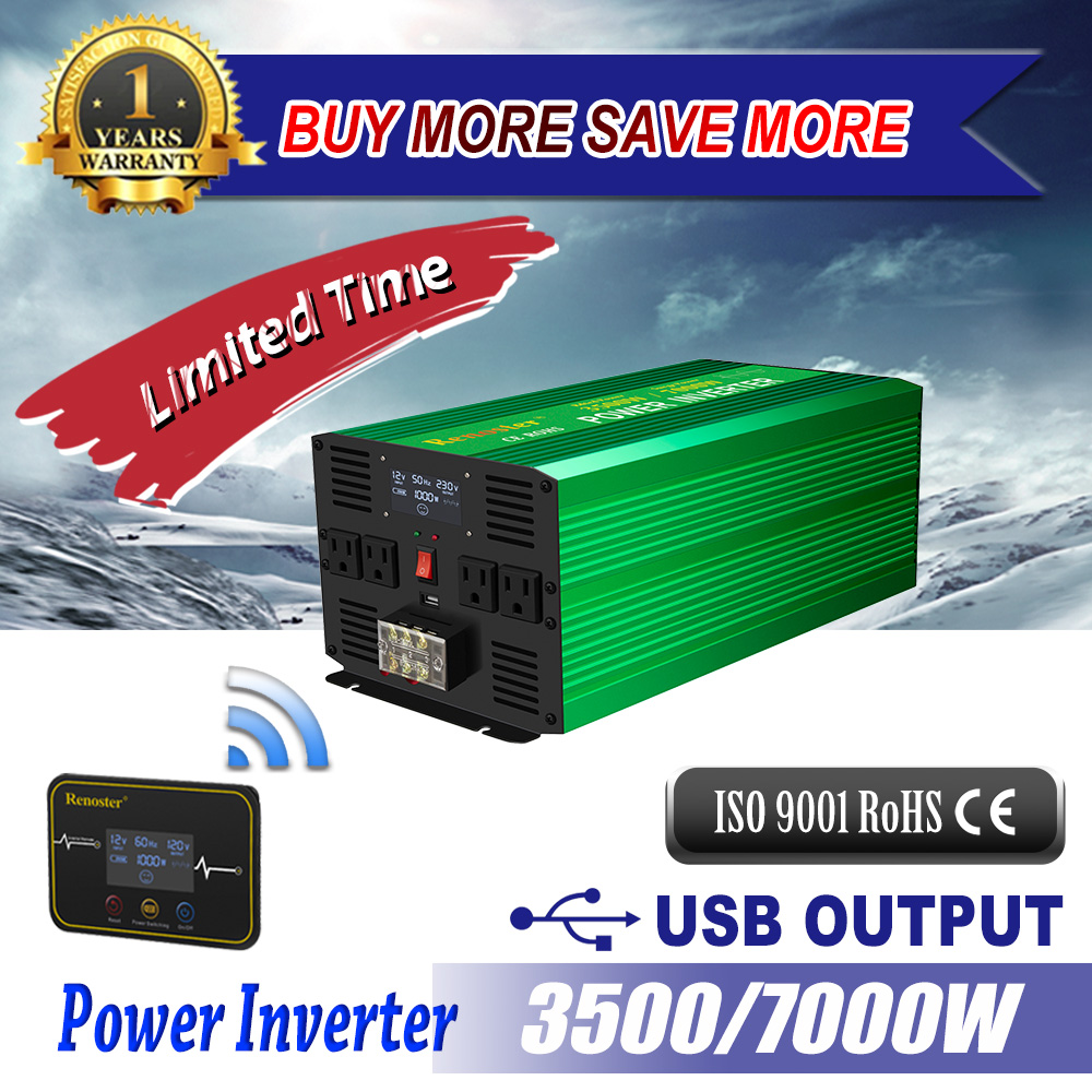 Wirelss solar <font><b>inverter</b></font> 3500/<font><b>7000W</b></font> converter <font><b>pure</b></font> <font><b>sine</b></font> <font><b>wave</b></font> <font><b>power</b></font> <font><b>inverter</b></font> <font><b>12V</b></font> to 220V converters with Remote control LED for car image