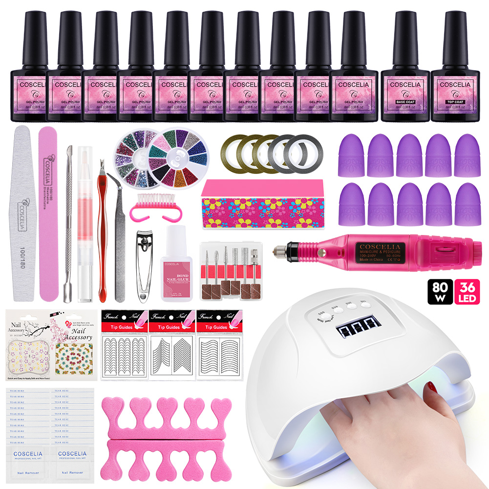 Nail Set UV LED Lamp Dryer With 10pcs Nail Gel Polish Kit Soak Off Manicure Tools Set Gel Nail Polish Kit For Nail Art Tools