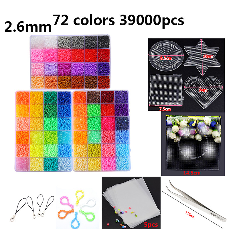 72 Color Beads 39000pcs 2.6mm 5mm Handmade Ironing Fuse Jigsaw Puzzle Diy Creative Kid Toy Gifts Wholesale Set Free Shipping