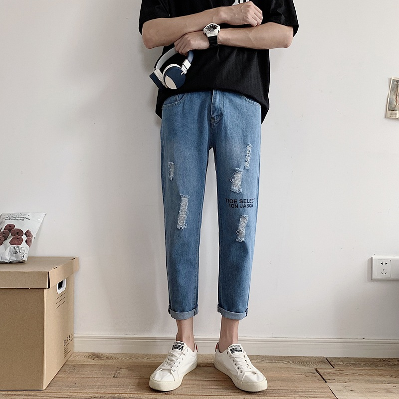 Summer INS Thin Denim (Ankle-length Pants) Male Red Straight Slim Ripped Pants Hong Kong Style INS Versatile Skinny Pants