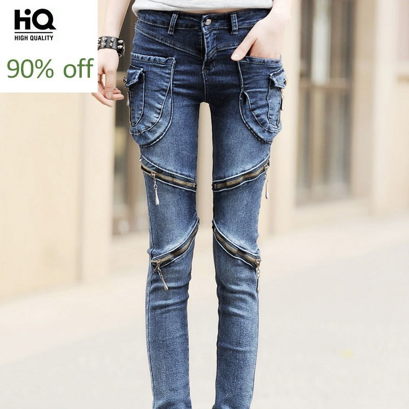 Spring Korean Style 2020 Hot Fashion Women's Jeans Full Length Pencil Pants Woman Mid Waist Skinny Fit Female Trousers Plus Size