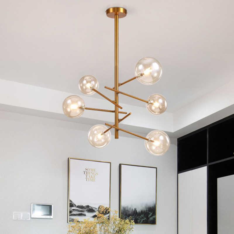 Современная подвеска подсветка индивидуальность волшебные бобы стеклянный подвесной светильник черный/золотой 6 головок лампа для гостиной кухонный светильник закрепленный
