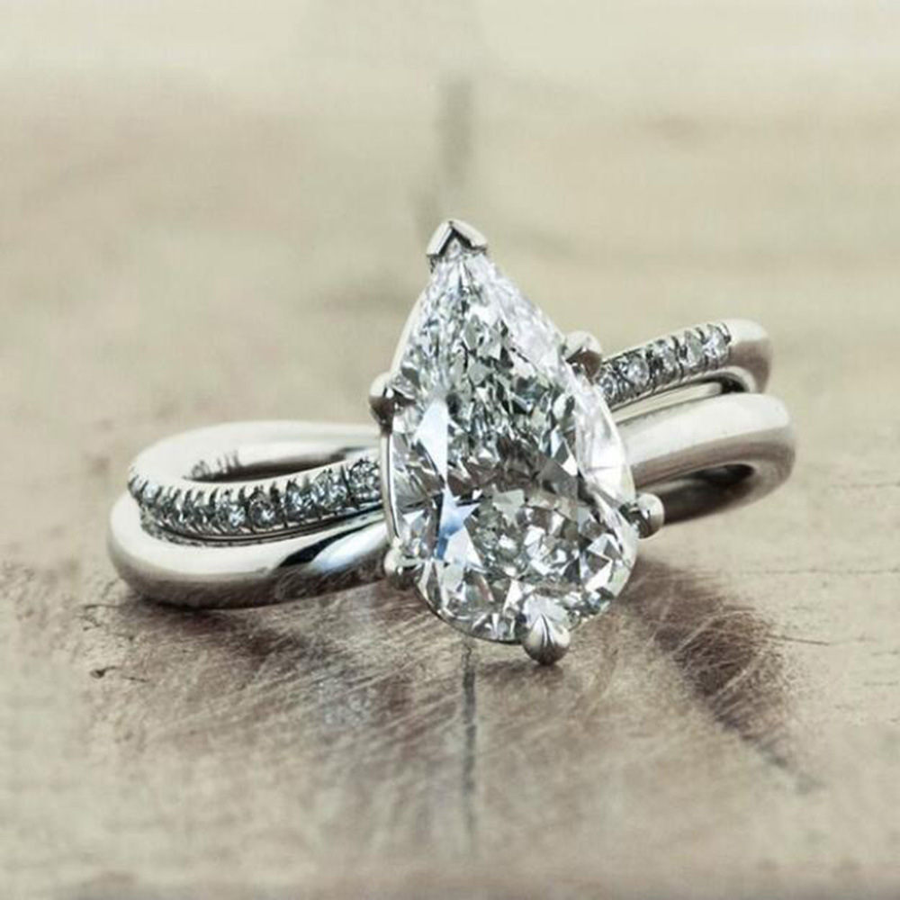 Pear Shape Crystal Female Zircon Ring Engagement Wedding Band Rings for Women Bridal Fashion Jewelry Gifts