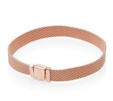 Neue Original 925 Sterling Silber Armband Rose Gold Woven Mesh Reflexions Armbänder Armreif Fit Frauen Bead Charm Fashion Schmuck(China)