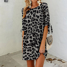 Summer Dress Leopard-Print Plus-Size Party Casual Beach Women Fashion for Neck Holiday