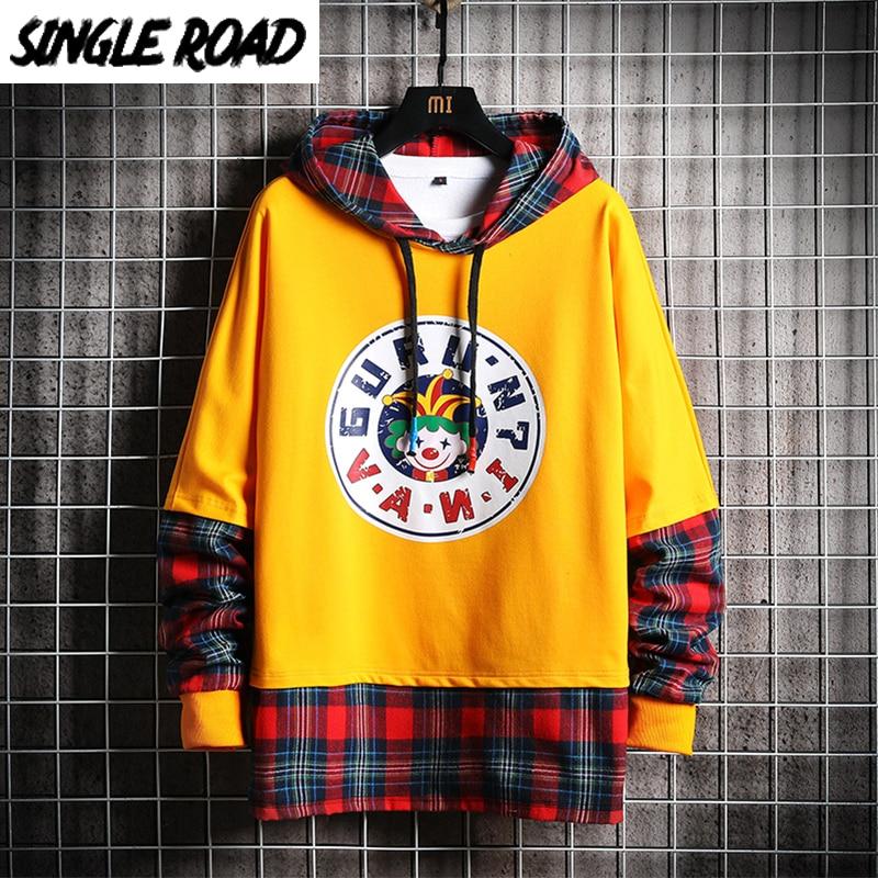 SingleRoad Men's Hoodies Men 2020 Autumn Plaid Patchwork Funny Harajuku Japanese Streetwear Yellow Hoodie Men Sweatshirt Male