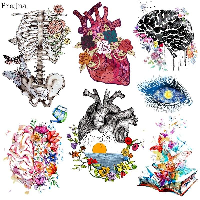 Prajna-patchs Punk, cœur, papillon, transfert de chaleur, à repasser pour vêtements T-shirt, yeux, Appliques bricolage