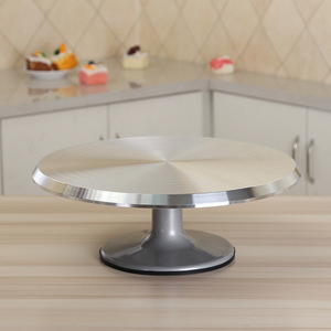 Image 5 - Baking tool 12 inch alloy mounted cream cake Decorating silver metal Turntable Rotating table stand base turn around
