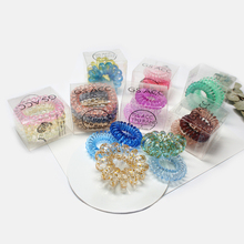 Creative Gradient Color Elastic Japanese Style Telephone Line Hair Ring Small Box Transparent Hair ropes Hair Accessories unique toilet style land line telephone random color