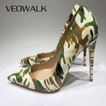 Veowalk Camouflage Gedruckt Frauen Patent Spitz Stiletto High Heels 8cm 10cm 12cm Damen Party Kleid Pumpen schuhe Größe 3-12