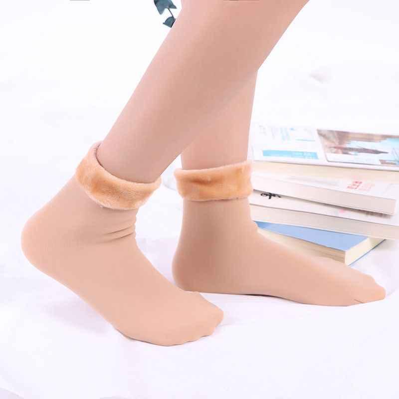Kış sıcak Unisex kalınlaşmak termal yün kaşmir kar çorap dikişsiz kadife çizmeler kat uyku çorap kadınlar ve erkekler için