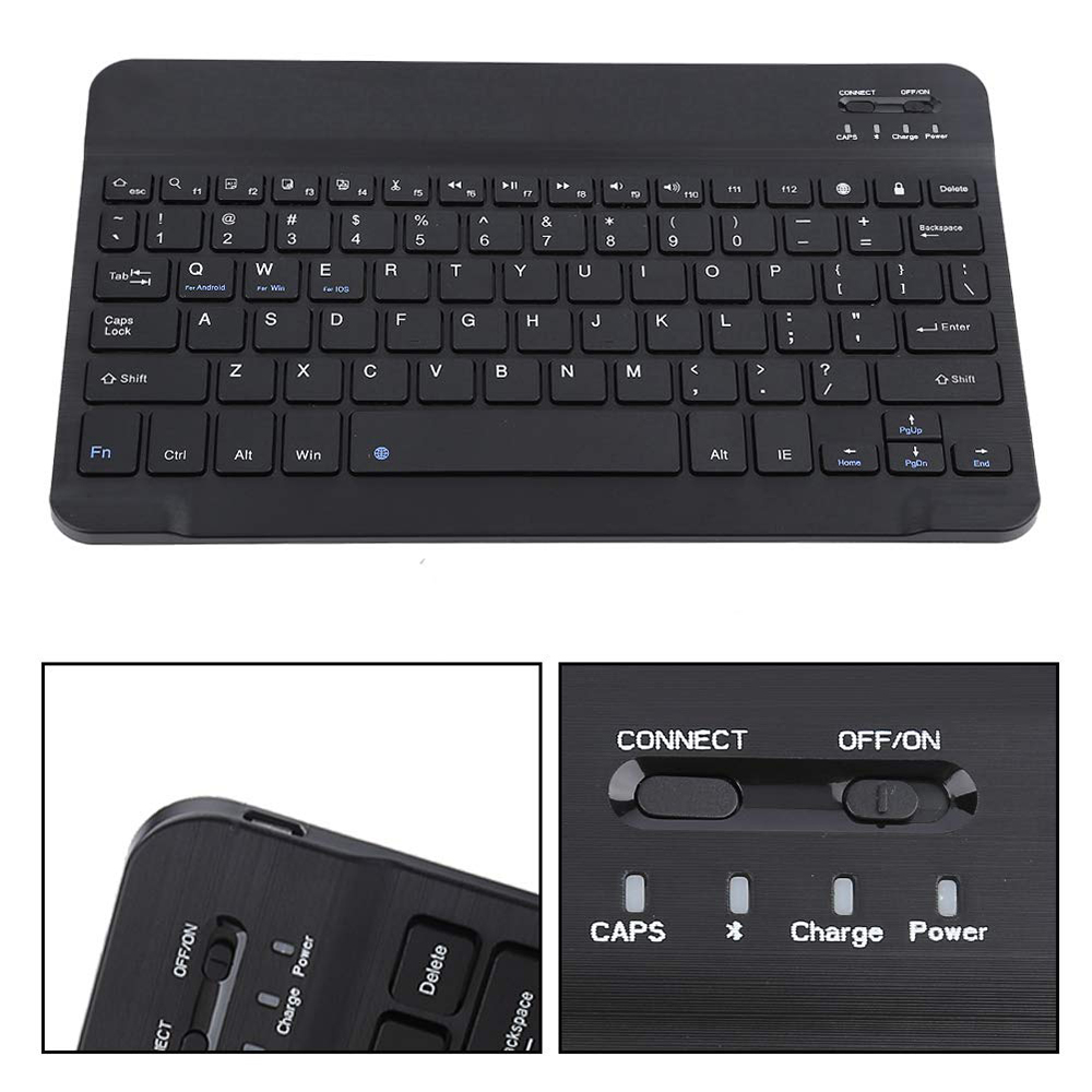 ipad mini black ANRY AN25 Slim Mini Bluetooth Wireless Keyboard Black 10.1 inch For Android Tablet iPad Apple iPhone Smart Phone iOS Windows (4)