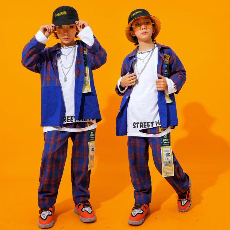 Kids Ballroom Plaid Hip Hop Dancing Clothing Jacket Top Casual Jogger Pants For Girls Boys Jazz Dance Costumes Outfits Wear