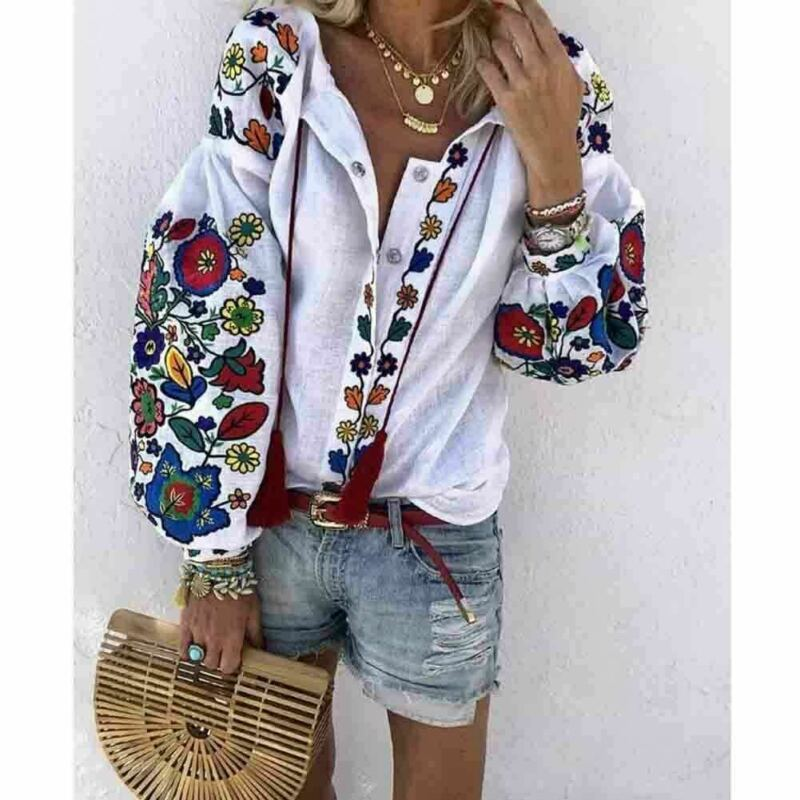 Elegant Shirt Tops Embroidered Blouse Collar Long-Sleeve Ethnic-Style Floral White Women title=