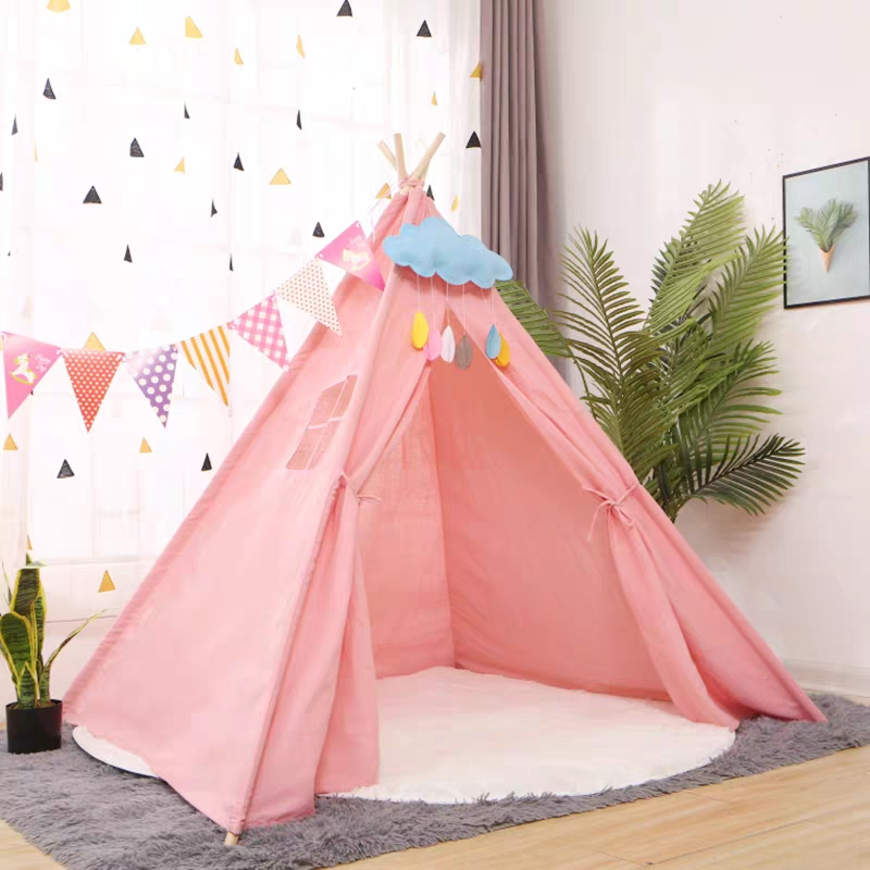 Indian Canvas Children's Tent Portable Kids Tents Wigwam Large Folding Baby Play House Child Cotton Tipi Teepee Room Decoration