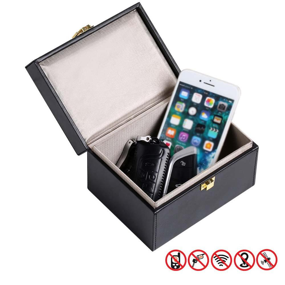 Faraday Box Signal Blocker Box For Car Keys Fob Phones Cards Call & RFID Signal Blocking Case Car Key Anti Theft Security Boxes