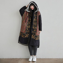 Parkas Floral-Coats Johnature Women Hooded Fleece Vintage Thick Winter New Button Casual