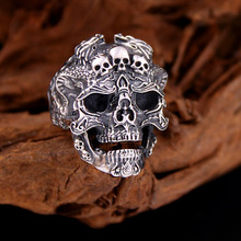 S925 sterling silver retro rock locomotive wind skull ring men and women Thai silver trend personality telescopic ring new retro punk skull ring rock car crack halloween men and women personality ring jewelry gift
